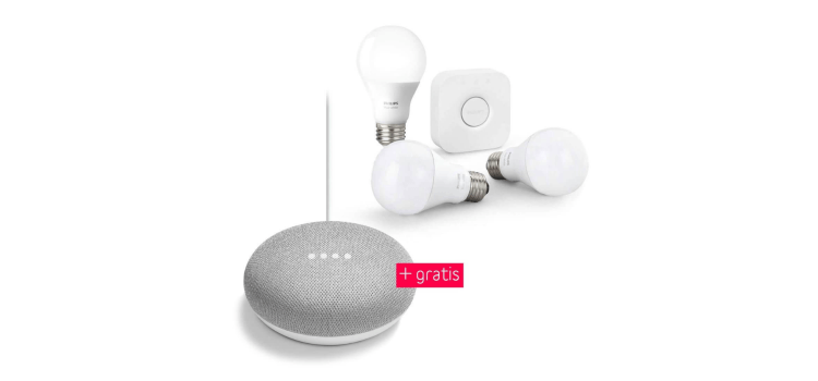 Philips Hue White Starterset E27 mit Google Home Mini für 98,95 Euro