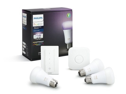 Philips Hue White und Color Ambiance E27 LED Lampe Starter Set