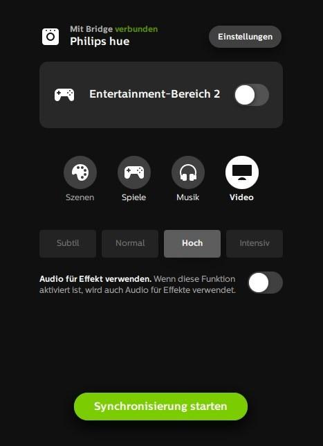 Hue Sync Entertainment Tool Video-Einstellungen