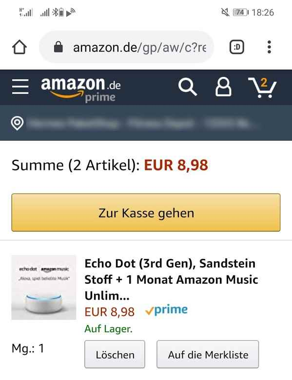 Echo Dot mit Music Unlimited